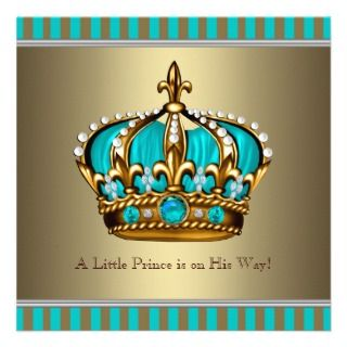 Turquoise Blue Gold Prince Baby Shower Custom Invite