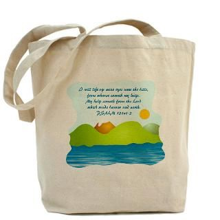 Scripture Verse Christian Tote Bag  PSALM 121 v 1 2   Bible Verse
