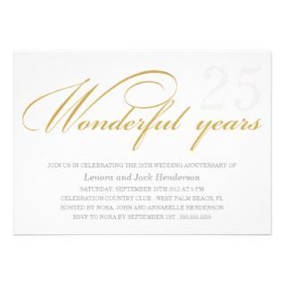 WONDERFUL YEARS  WEDDING ANNIVERSARY INVITIATION PERSONALIZED INVITE