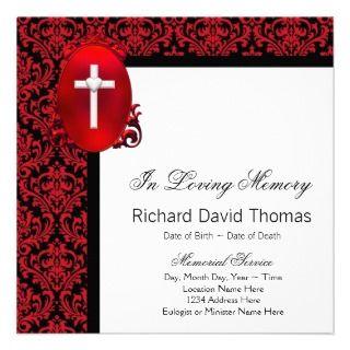 Red Black Damask Cross In Loving Memory Memorial Personalized Invites