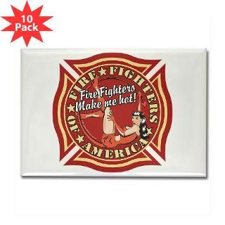 Patriotic Fire Fighter Pinup Girl Rectangle Magnet