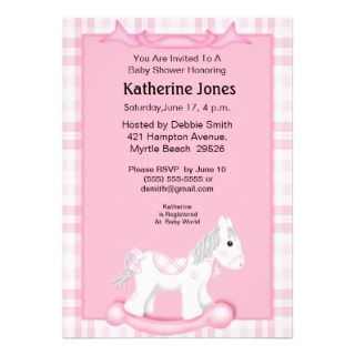 Cute Pink Rocking Horse Baby Shower Invitation