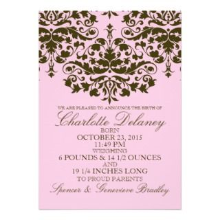 Pink Damask Formal Introduction Birth Announcement