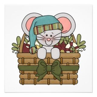 Christmas Mouse in Basket Custom Invitation