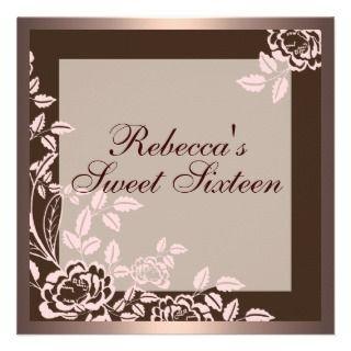Pink & Brown Rose Sweet 16 Birthday Invitation