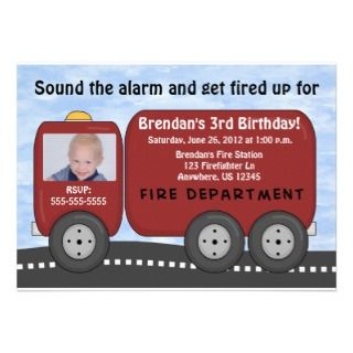 Fire Truck Kids Birthday Invitation