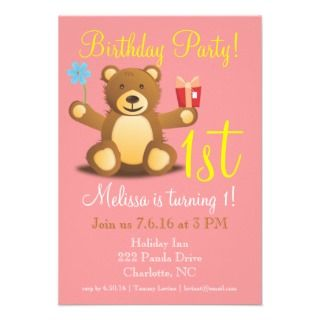 Birthday Party Invite  Bearry 1st