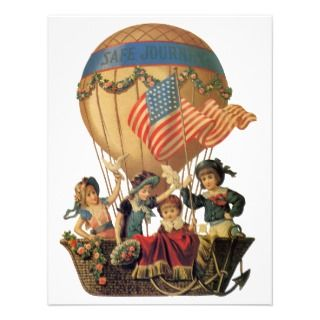 Children in Hot Air Balloon; Safe Journey Invitations