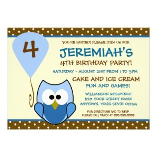 Cutie Owl Blue Childs Birthday Invitation