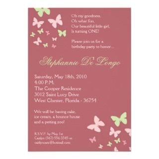 5x7 Pink Green Butterfly Birthday Party Invitation