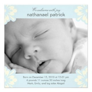 Baby Boy Birth Announcement   Floral Corners