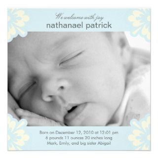 Baby Boy Birth Announcement   Floral Corners