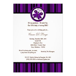 5x7 Dark Purple Butterfly Birthday Party Invite