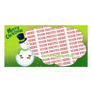 Snow Man wishing Merry Christmas to Kids Customized Photo Card