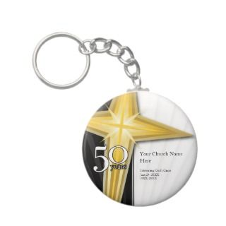 Customizable 50 Year Church Anniversary Keychain