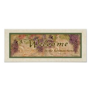 Aged Grape Vineyard Welcome Sign, Audrey Jeanne Poster