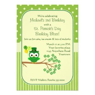 St. Patricks Day Boys Birthday Owl Personalized Invite