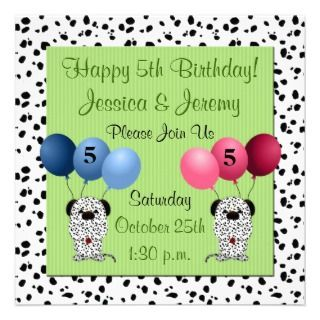 Twins 5th Birthday Party Invitation Green