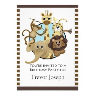 Birthday Party Invitiation Safari Style Personalized Announcements