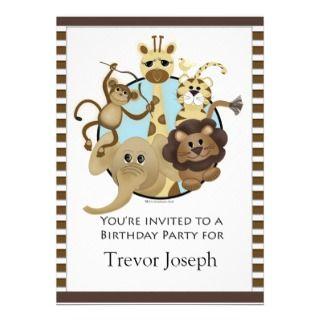 Birthday Party Invitiation Safari Style Personalized Announcements