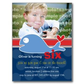 Cartoon Whale Photo Birthday Invitation Post Card