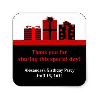 Black and Red Gifts Birthday Party Favor Labels Square Sticker