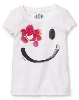 Juicy Couture Girls Smile Crewneck Tee   Sizes 7 14