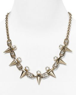 Aqua Oval Chain Pearl Crystal Spike Necklace, 18