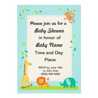 Jungle Animals Neutral Baby Shower Invitations