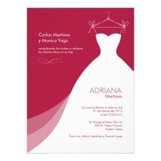 Quinceañera Vestido rojo Invitaciones Invite