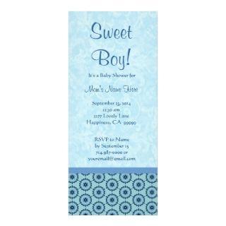 Blue Circle Flowers Little Boy Baby Shower Announcement