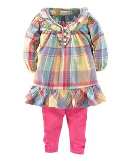Ralph Lauren Childrenswear Infant Girls Plaid Dress & Legging Set