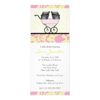 Twin Girls Baby Shower Invitation   Baby Carriage