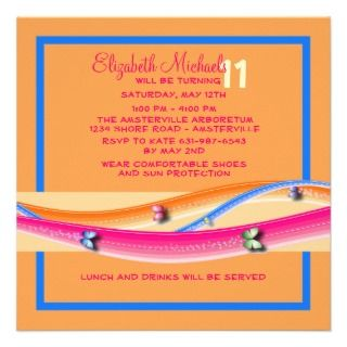 Butterflies and Ribbons Birthday Party Invitation