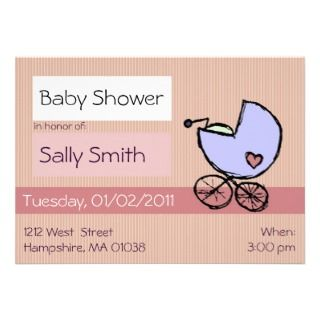 Baby buggy   Baby girl shower invitations