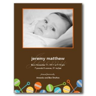 Modern Rattles Baby Boy Birth Announcement Postcard