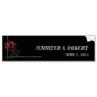 Gothic Barbed Wire and Rose Elegant Wine Label Bumper Stickers