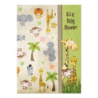 Safari Animals Baby Shower Custom Announcements