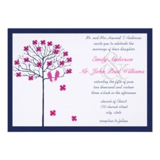 Navy and Fuchsia Vintage Birds on Blooming Tree Custom Invite