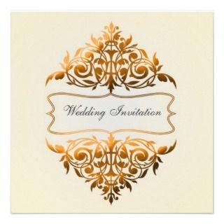 Classic Gold/Orange Ornate Wedding Invitations
