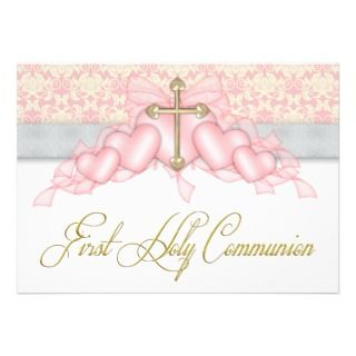 Cross Girls Pink First Communion Custom Invitation