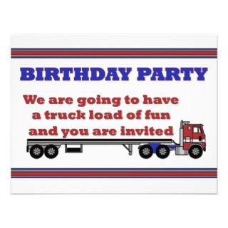 Birthday party invitation with big rig truck