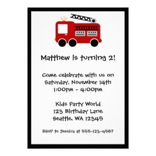 Red Fire Truck Birthday Party Invitation