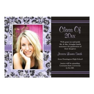 Damask Graduation Photo Announcement Invitation Pu