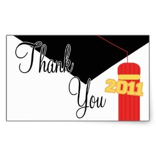 Thank You 2011 Cap And Tassel Label (Red) Rectangular Sticker