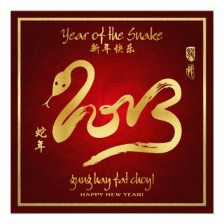 Year of the Snake   Chinese New Year 2013 Custom Invites