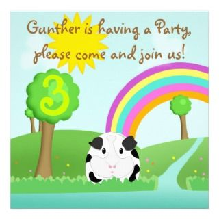 Guinea Pig Cartoon River Scene Childs Party Personalized Invitation