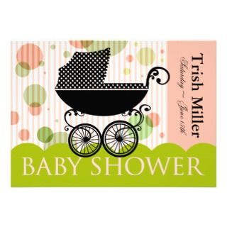 Retro Baby Carriage   Baby Shower Party Invitation