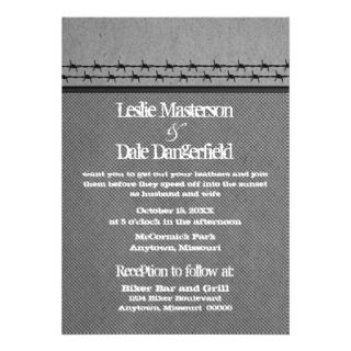 Barbed Wire Fence Biker Wedding Invite, Gray