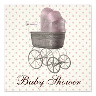 Vintage Pink Baby Carriage Baby Girl Shower Invites